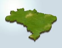 3D Map Illustration Of Brazil