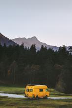 Travel Van Yellow Camper Road Trip Vacations In Mountains Summer Family Journey Vanlife Weekend Caravan Camping