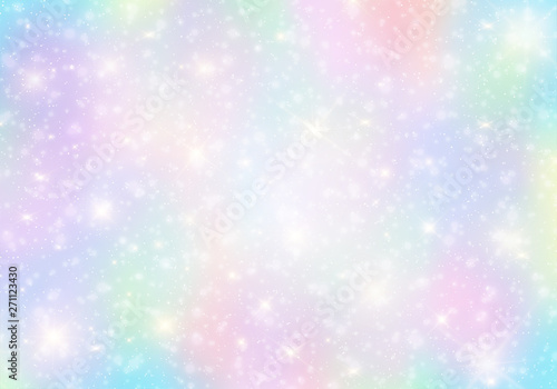 fototapeta na ścianę Vector illustration of galaxy fantasy background and pastel color.The unicorn in pastel sky with rainbow. Pastel clouds and sky with bokeh background