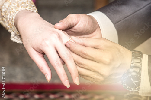 Wedding Ring Exchange Ceremony Tradition Groom Wears Ring