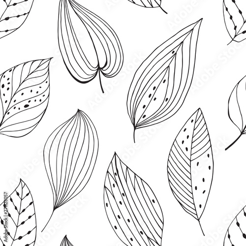 Seamless Pattern With Abstract Leaves On White Background Black And White Vector Illustration Outline Drawing Buy This Stock Vector And Explore Similar Vectors At Adobe Stock Adobe Stock