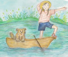Raster Cute Hand Drawn Illustration Of A Small Girl In Yellow Hat And Shorts Staying In Boat And Watching On The Other Bank. A Small Fluffy Dog Behind Her.