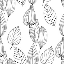 Seamless Pattern With Abstract Leaves On White Background. Black And White Vector Illustration. Outline Drawing.