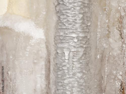 Valokuvatapetti Ice and icicles on a drainpipe