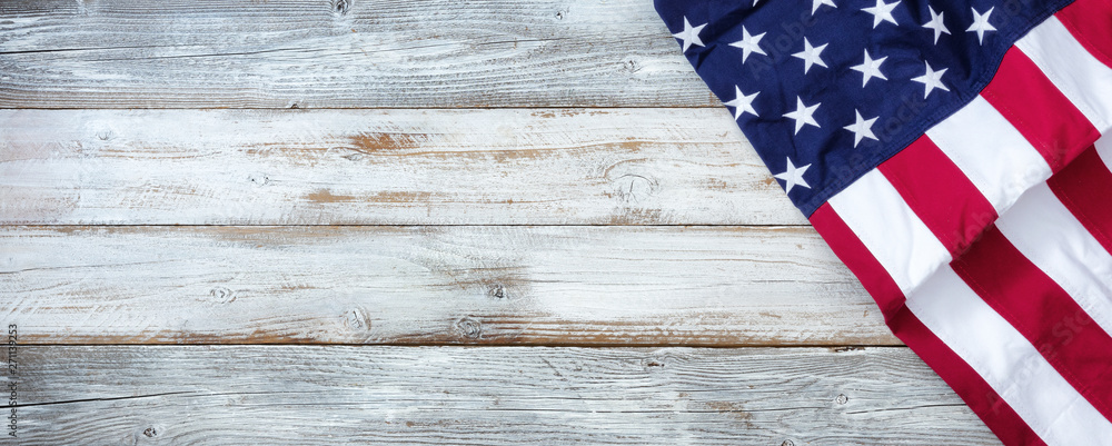 Fototapety, obrazy: United States flag of America on white rustic wooden background with plenty of copy space