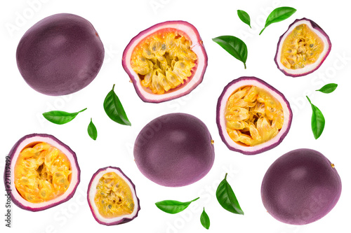 passion fruits and a half with leaves isolated on white background. Isolated maracuya. Top view. Flat lay - 271139499