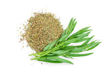 Tarragon Or Estragon Fresh And Dried Isolated On A White Background. Artemisia Dracunculus. Top View. Flat Lay