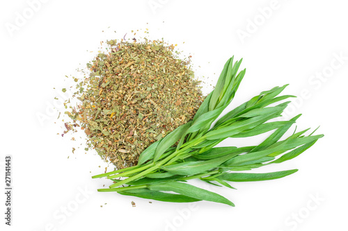 tarragon or estragon fresh and dried isolated on a white background Wallpaper Mural