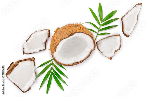 Foto auf Gartenposter Palms coconut with leaves isolated on white background with copy space for your text. Top view. Flat lay