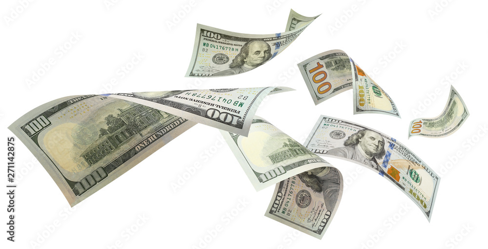 Fototapety, obrazy: Flying 100 American dollars banknotes, isolated on white background