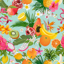 Seamless Pattern With Tropical Fruits And Flowers. Banana, Orange, Lemon, Pineapple, Dragon Fruit Background For Textile, Fashion Texture, Wallpaper In Vector