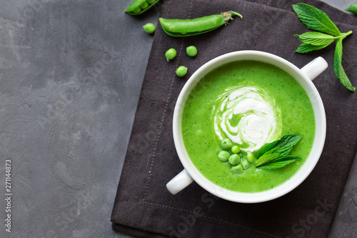 Stampa su Tela Green pea and mint soup