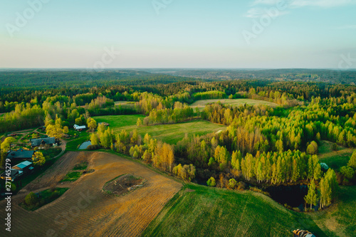 Fotobehang Lente Aerial view on rural countryside scenery, summer time in Latvian countryside.