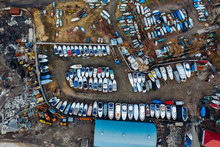 Aerial View Of Boat Yard On La...