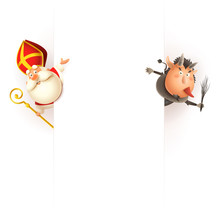 Krampus On Right Side And Saint Nicholas Od Left Side Of Board Celebrate Holiday - Vector Illustration Isolated On White