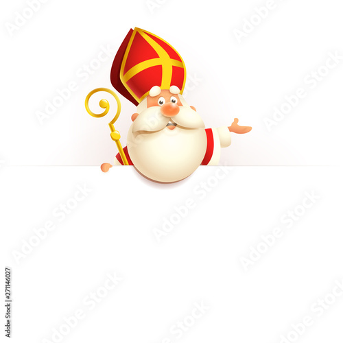 Photographie Saint Nicholas on board - happy cute character vector illustration isolated on w