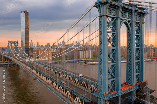 New York, United States of America. Aerial view on the Manhattan Bridge and New York skyline.