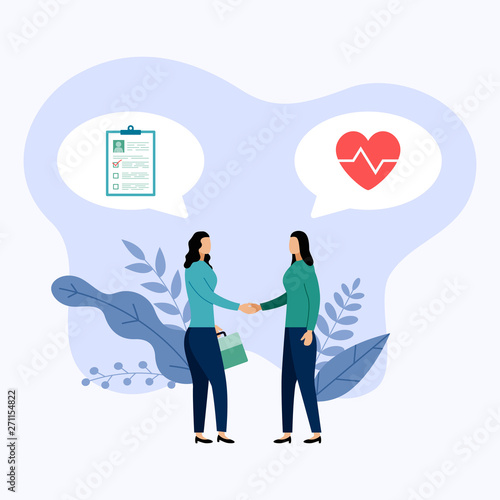 Fototapety, obrazy: Two people talk about health protection, vector illustration