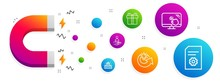 Magnet Attracting. Gift Box, Share Idea And Recruitment Icons Simple Set. Circus, Touch Screen And File Settings Signs. Present Package, Solution. Line Gift Box Icon. Editable Stroke. Vector