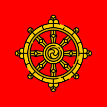 Dharma Wheel Symbol. Gold Budd...
