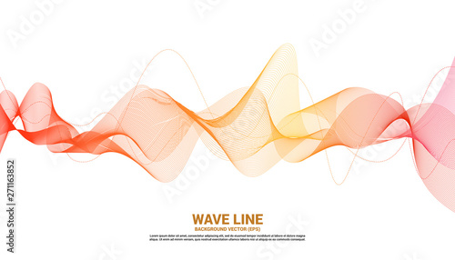 Foto auf AluDibond Abstrakte Welle Orange Sound wave line curve on white background. Element for theme technology futuristic vector