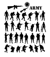 Army Silhouettes, Art Vector Design
