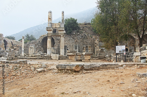 Fotografie, Obraz  Archaeological ruins of the Temple of Domitian, along the Curetes Road in the ruins of Ephesus, Turkey near Selcuk