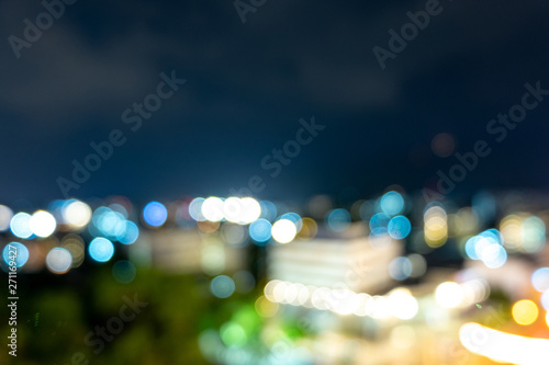 Photo Stands Eggplant light bokeh city landscape at night sky with many stars, blurred background concept.