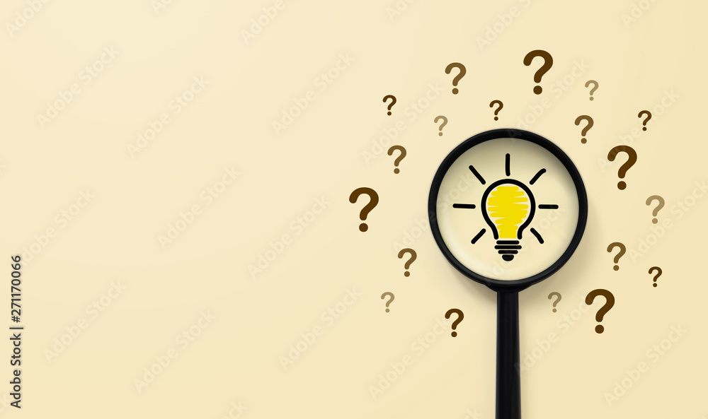 Fototapety, obrazy: Magnifying glass with light bulb icon and question mark symbol. Concept creative idea and innovation
