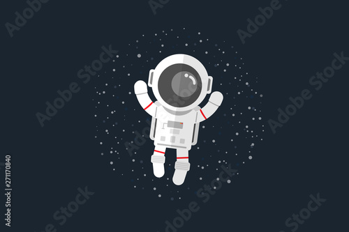 Tableau sur Toile Flat design, Astronauts float in space, Vector illustration, Infographic Element