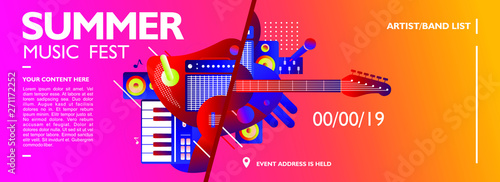 Fotomural Summer music festival banner design template with colorful music instrument shap