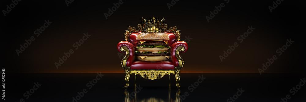 Fototapeta Burger with crown. 3d rendering