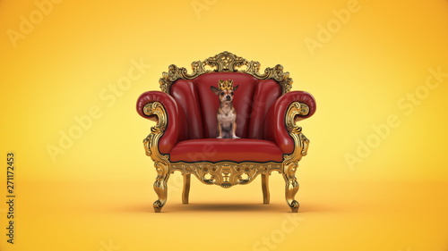 Leinwand Poster Dog wiDog with crown in a chair. 3d rendering