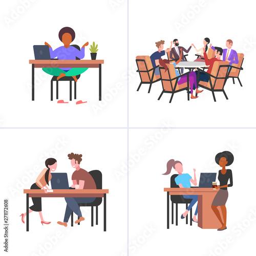 Fotografía set colleagues working process mix race businesspeople various business corporat