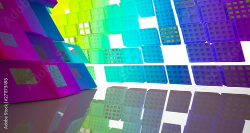 Fototapety, obrazy: Abstract white and colored gradient parametric interior  with window. 3D illustration and rendering.