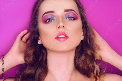 Fashion Model With Creative Pink And Blue Make Up Beauty