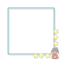 Frame Template With Cartoon Stars, Bear And Copy Space.