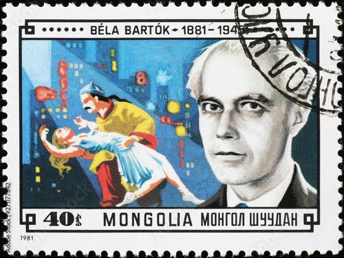 Fotografía Portrait of composer Bela Bartok on mongolian postage stamp