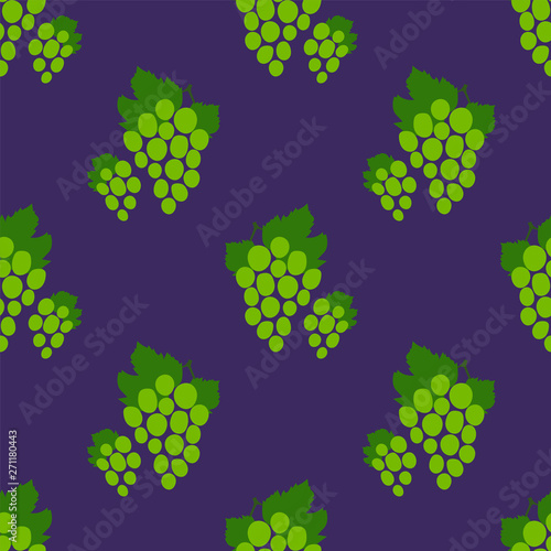 Grape seamless pattern. Green bunch of grapes. Hand drawn fresh berry. Vector sketch background. Doodle wallpaper. Food print for kitchen tablecloth, curtain or dishcloth. Fashion design Fototapete
