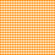 Gingham Check Seamless Pattern In Orange And White, EPS8 File Includes Pattern Swatch That Will Seamlessly Fill Any Shape, For Arts, Crafts, Fabrics, Tablecloths, Decorating, Scrapbooks.