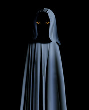 Spooky Monster In Hooded Cloak With Glowing Yellow Eyes