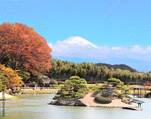 Japanese ornamental garden and sacred Mount Fuji (Fujiyama), Japan