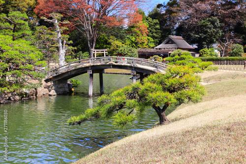 Decorative bridge in Koishikawa Korakuen garden, Okayama, Japan