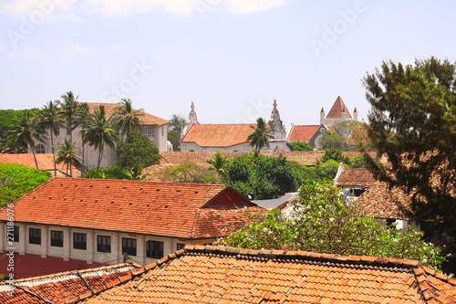 Top view on roofs of medieval houses, Galle Fort, Sri Lanka