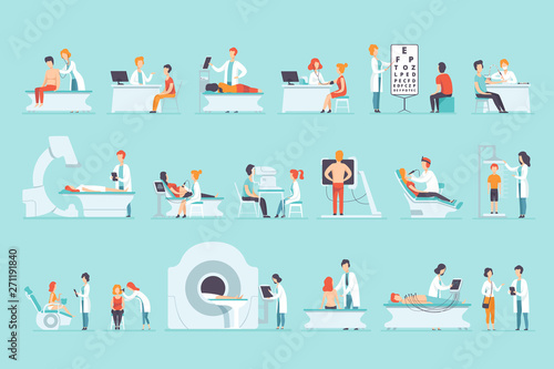 Flat vector set of people on medical examination Canvas-taulu