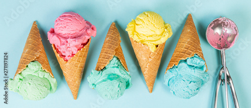 Fotografie, Obraz  Pastel ice cream in waffle cones, bright background, copy space