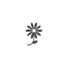 Black Flat Icon Of Camomile Flower With Curved Sprig And Leaf.