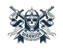 Medieval Coat Of Arms. Skull Warrior In Helmet, Crossed Swords And Heraldic Ribbons. Vector Illustration.