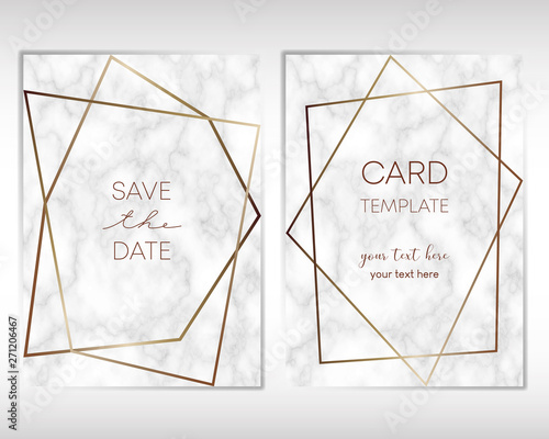Wedding Invitation card design with golden frames and marble