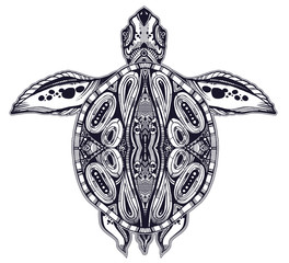 Ornate tribal sea turtle in indigenous Polynesian style.